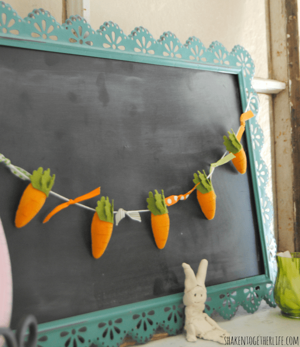 Felt carrot garland and my {almost} Easter mantel
