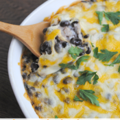 Cheesy baked black beans and rice - easy Cinco de Mayo side dish