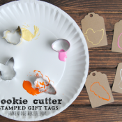 Use cookie cutters to make stamped gift tags!