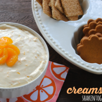 Sweet and fluffy creamsicle dip - delicious with fruit, pretzels and cookies!