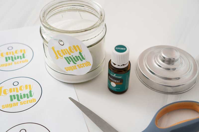 lemon mint sugar scrub in glass jar with printable labels for gifts