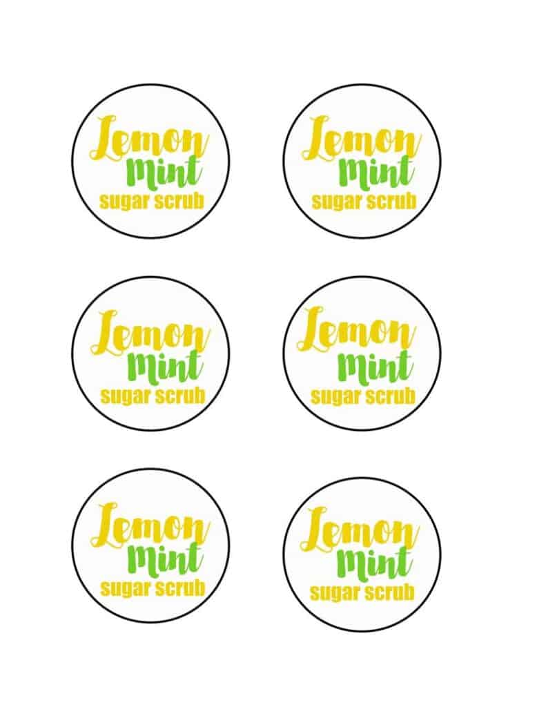 printable labels for lemon mint sugar scrub
