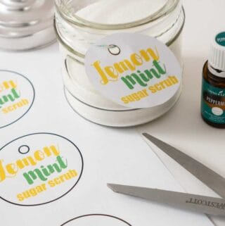 homemade lemon mint sugar scrub in jar with printable tags and scissors