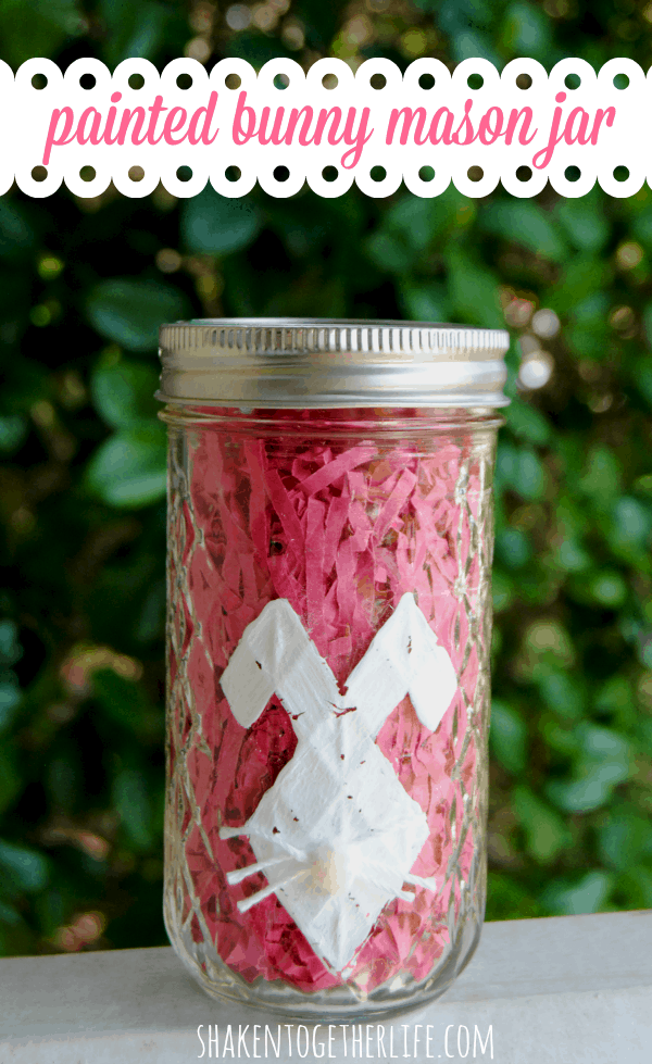 Make a painted bunny mason jar for Easter!