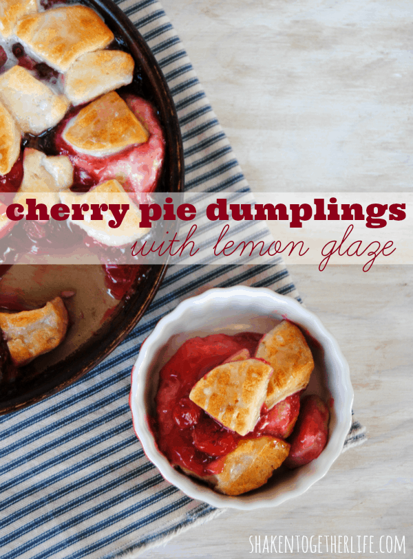 Cherry pie dumplings with easy lemon glaze - SO good!