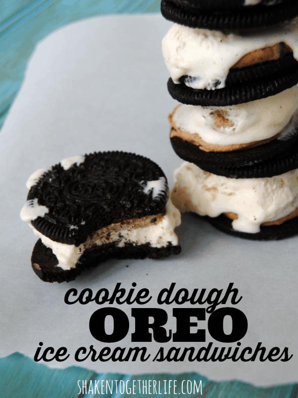 Cookie dough Oreo ice cream sandwiches - YUM!
