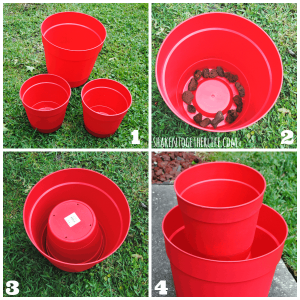How to make an easy two-tiered planter with colorful plastic pots!