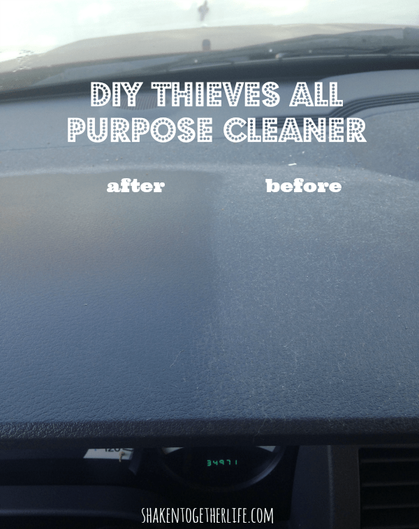 Before and after using my DIY all natural Thieves cleaner in my car!
