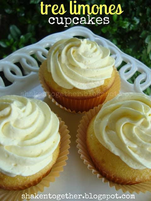 Tres limones (three lemons) cupcakes - lemon cake, homemade eggless lemon curd and fluffy lemon topping!