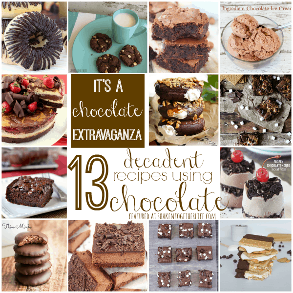 13 deliciously decadent recipes using chocolate - it is a chocolate extravaganza!!