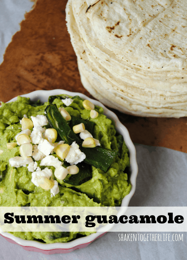 You have got to try this guacamole!  Corn, cotija cheese and poblano peppers make this SO much more than just a chip dip!