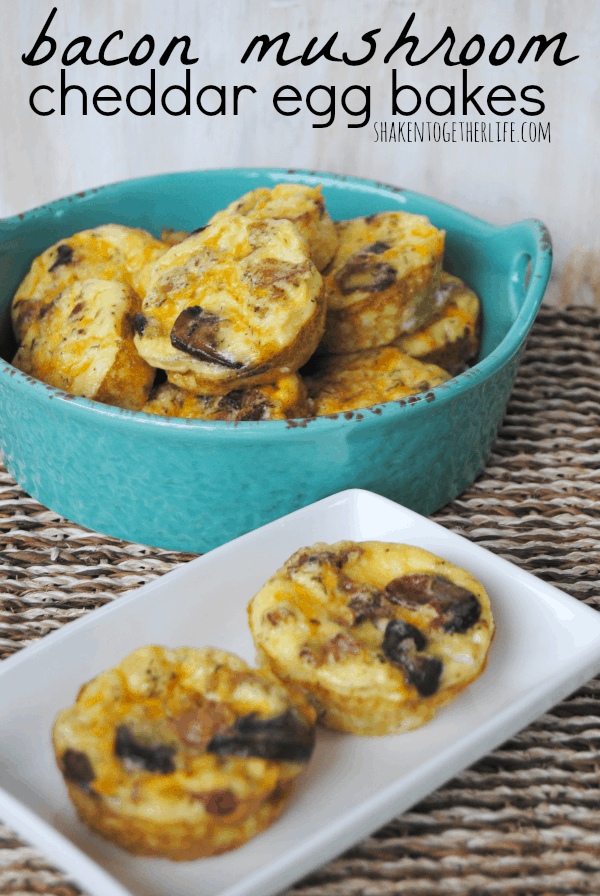 Bacon mushroom cheddar egg bakes - easy, portable and bacon!