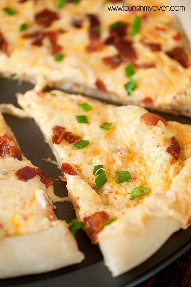 Pimento cheese & bacon pizza from Buns in My Oven!