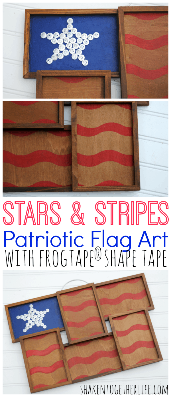 Stars & Stripes Patriotic Flag Art - great way to repurpose a photo holder using FrogTape® Shape Tape!