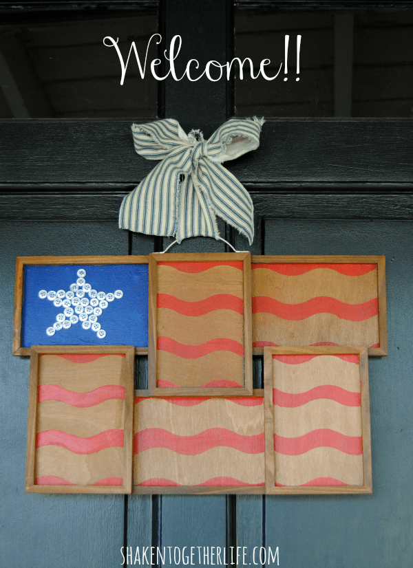 Love this rustic flag from a repurposed photo frame instead of a traditional wreath!