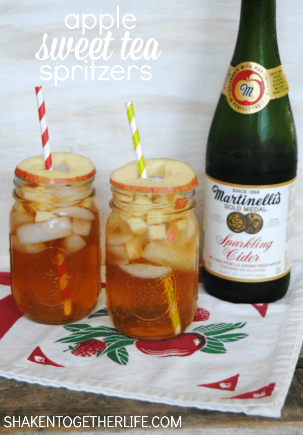 Sweet tea + sparkling apple cider = fun fizzy Summer drink!