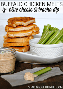 Lunch with a kick! Buffalo chicken melts and blue cheese Sriracha dip!