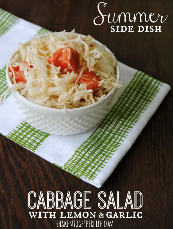 Cabbage salad with lemon garlic dressing - such a fresh Summer side dish!