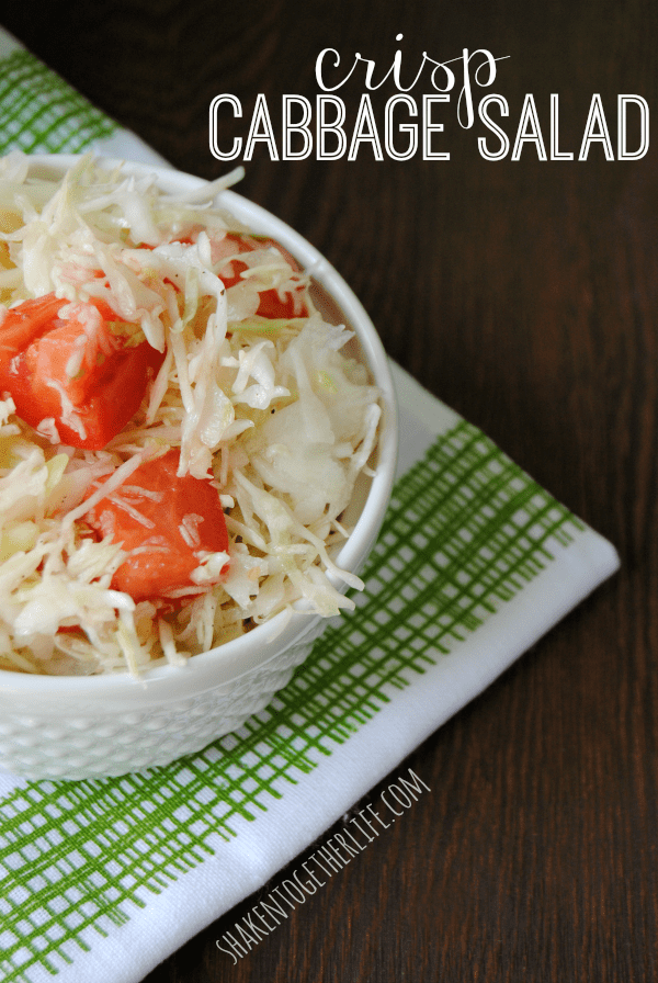 Crisp cabbage salad with a bright, lemon garlic dressing!