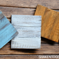 Painted wooden coasters made from inexpensive cedar shims - great gift!