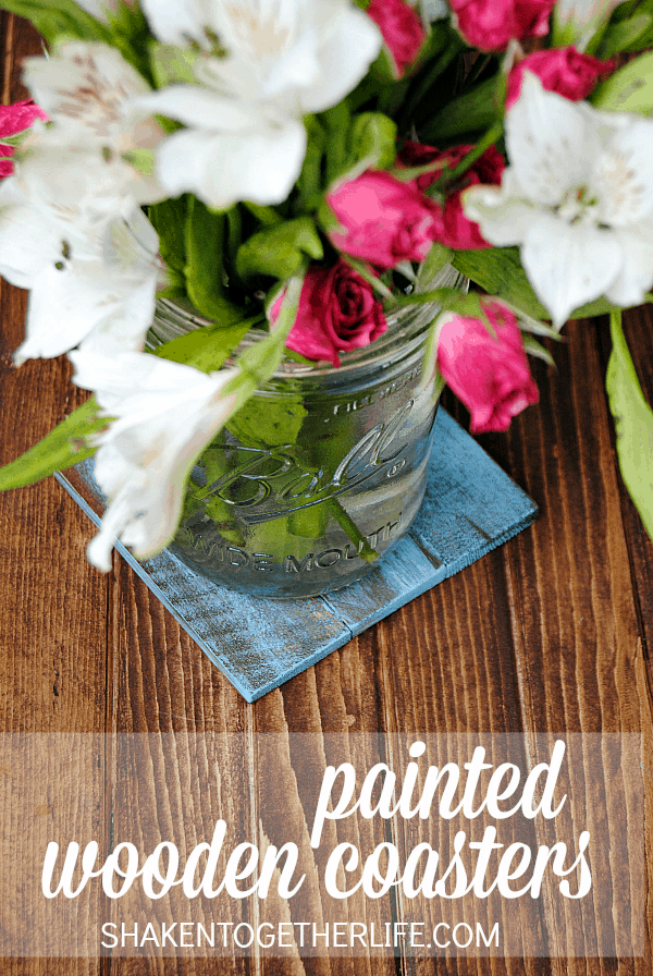 Rustic, wooden painted coasters - so easy to DIY
