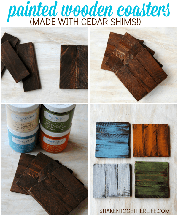 How to make rustic painted wooden coasters