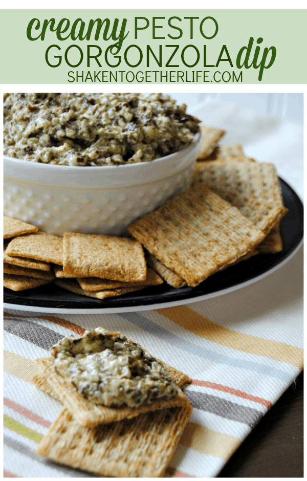 Creamy pesto gorgonzola dip - super easy appetizer and perfect for football season!