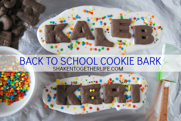 Alphabet cookies + sprinkles = Back to School Cookie Bark! Such a cute way to beat the back to school blues!