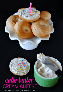 Cake Batter Cream Cheese - perfect for birthday bagels!