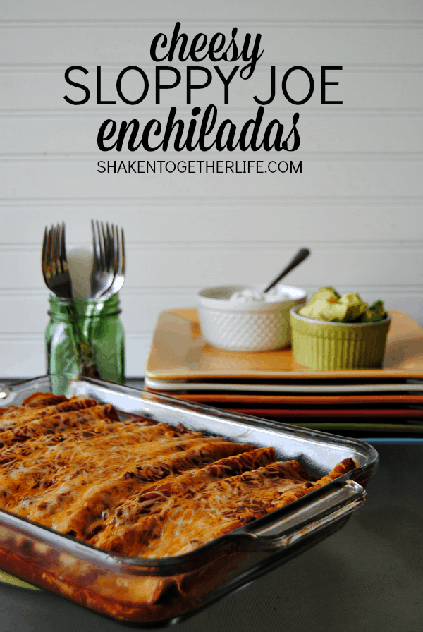 Cheesy Sloppy Joe Enchiladas - a twist on classic enchiladas and an easy weeknight meal!