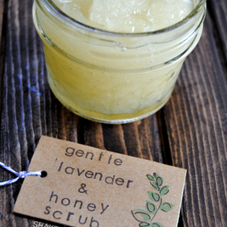 Gentle lavender honey scrub - great to soothe and moisturize dry, flaky skin!