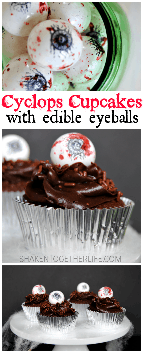 Cyclops Cupcakes for Halloween! With creepy edible eyeball toppers!