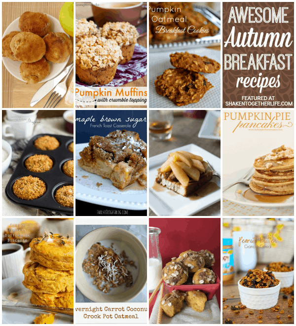 Pumpkin and apple and cinnamon - oh my! These awesome Autumn breakfast recipes just sing Fall!