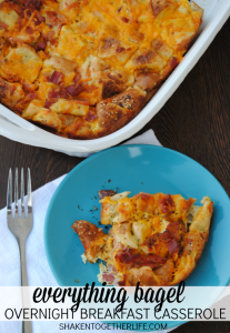 Everything bagels are the star of this easy, cheese overnight breakfast casserole!