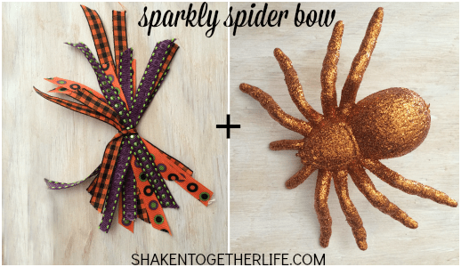 Spooky spider bow for a rustic wood shim witch hat!