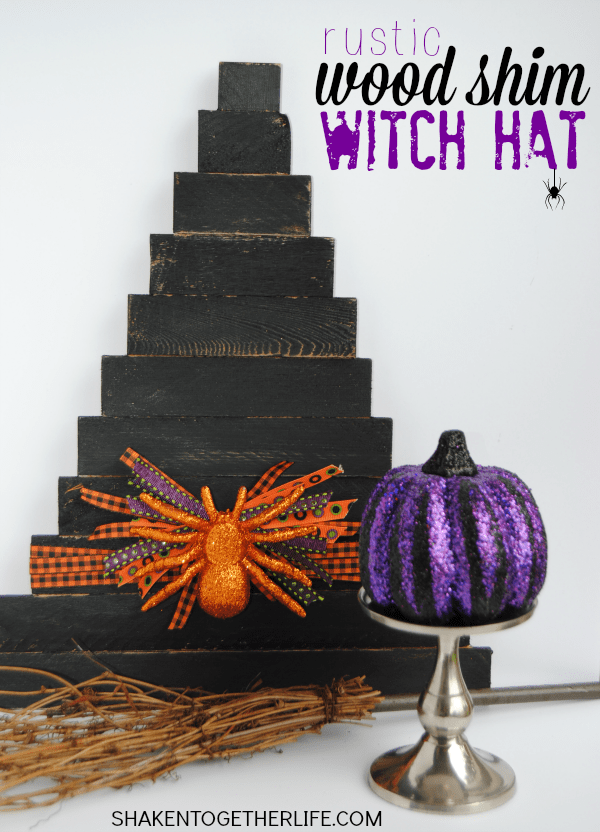 Make a rustic wood shim witch hat - easy, affordable Halloween decor!