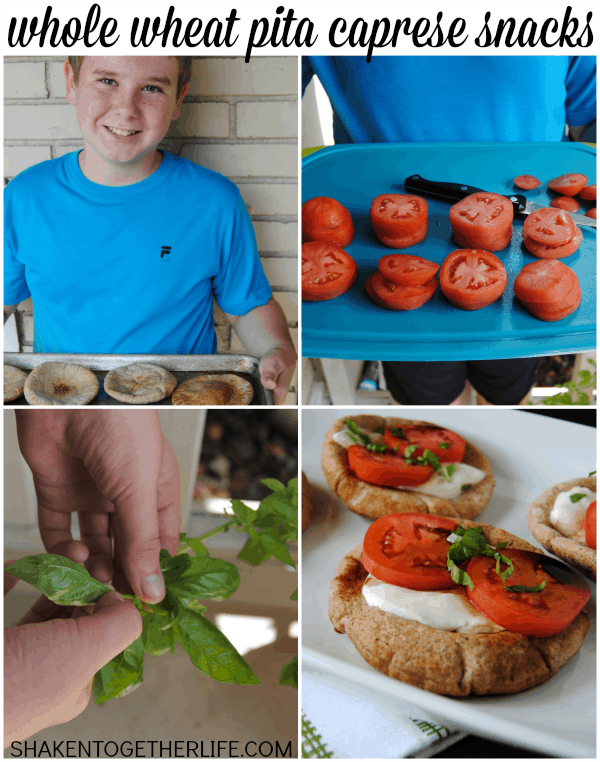 Whole Wheat Pita Caprese Snacks - a healthy snack for kids created and cooked by a kid!