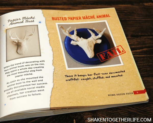 Oh dear!  This paper mache animal head was a big bust! One of the fun crafty disasters in the new CRAFTFAIL book!
