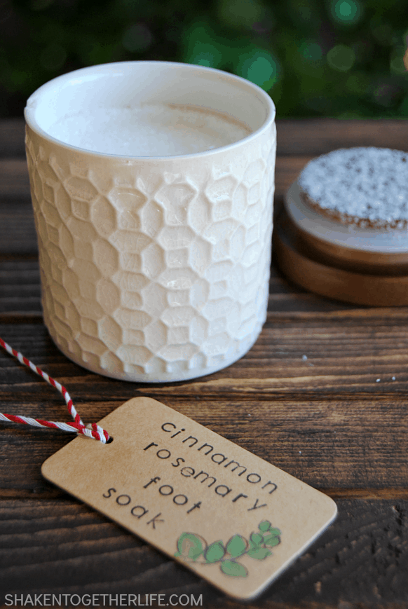 Cinnamon Rosemary Foot Soak is perfect for sore, tired feet.  It only has 2 ingredients and makes great Christmas gifts!