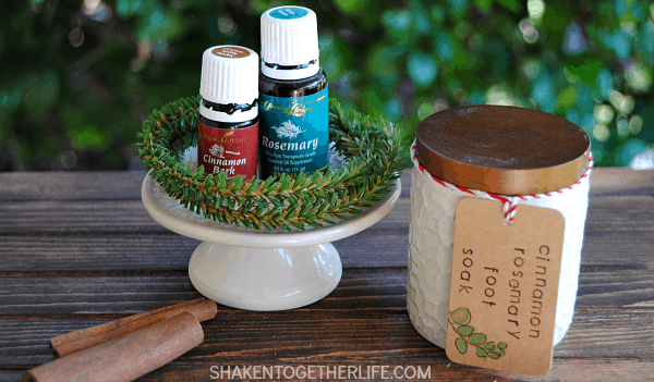 Cinnamon Rosemary Foot Soak is perfect for tired, sore feet and it makes awesome Christmas gifts! And only two ingredients!