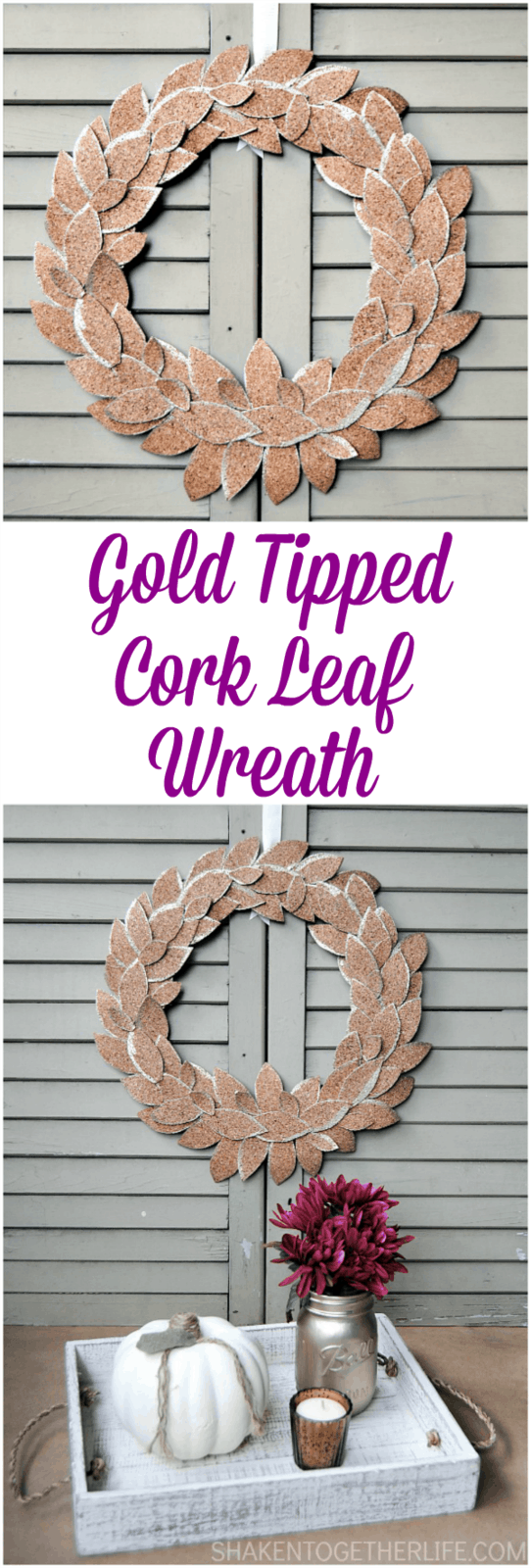 LOVE this gorgeous Gold Tipped Cork Leaf Wreath from Shaken Together - great idea for simple and neutral Fall decor!
