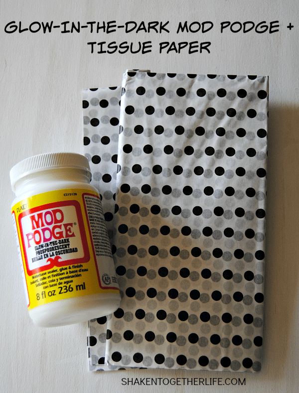 Use glow in the dark mod podge to adhere stripes of polka dot tissue paper