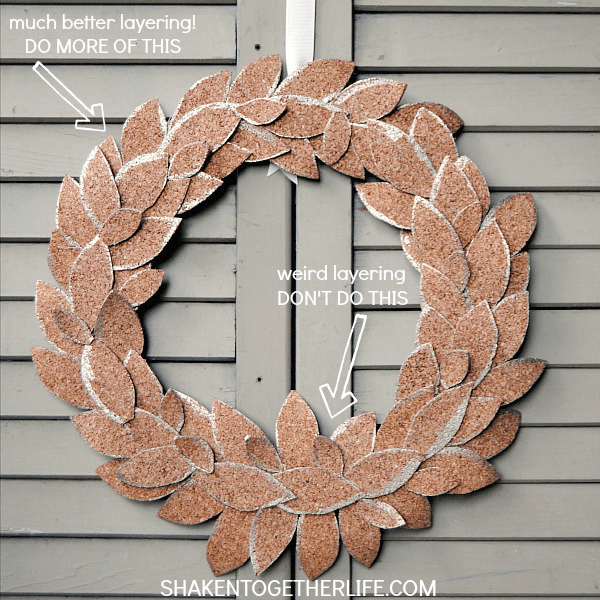 Tips on how to layer leaves for a cork leaf wreath