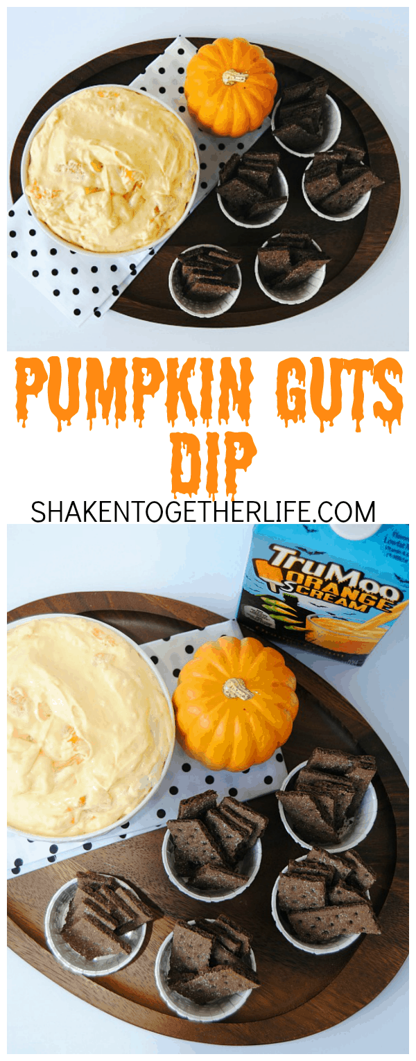 Pumpkin Guts Dip is perfect for any Halloween party or get together! It is SO easy to make - only 4 ingredients!