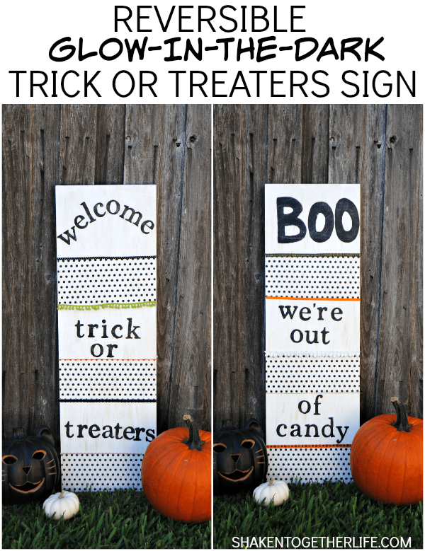 Make a reversible glow in the dark trick or treaters sign!