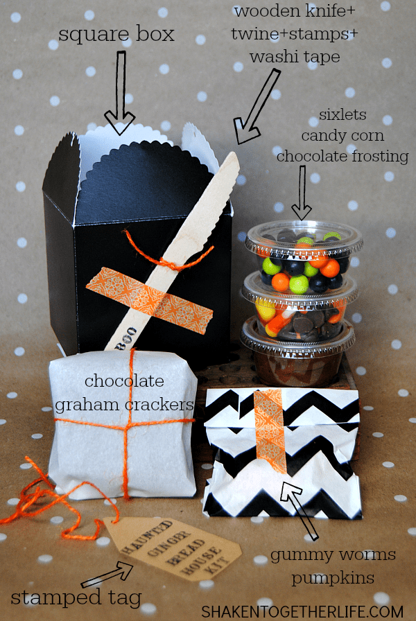 Haunted Halloween gingerbread house kit - everything tucked inside to make and decorate a Halloween gingerbread house!
