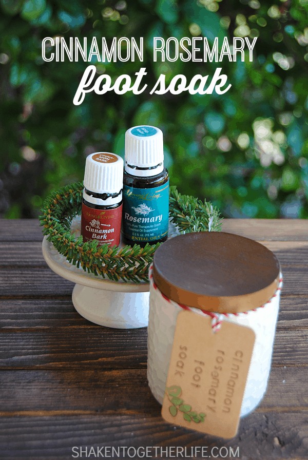 Cinnamon Rosemary Foot Soak is perfect for sore, tired feet.  It only has 2 ingredients and makes great holiday gifts!