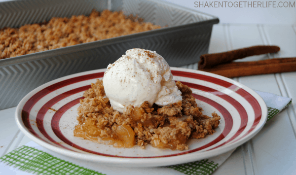 Warm, bubbly Carrot Cake Apple Crisp is the perfect {easy!} dessert for the holidays!