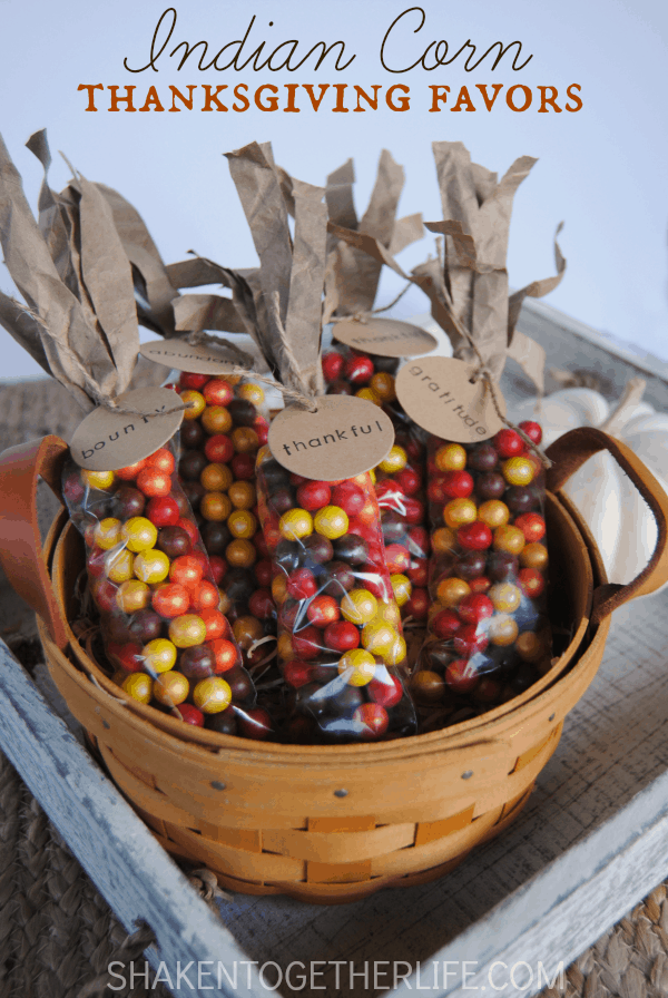 Indian corn thanksgiving favors