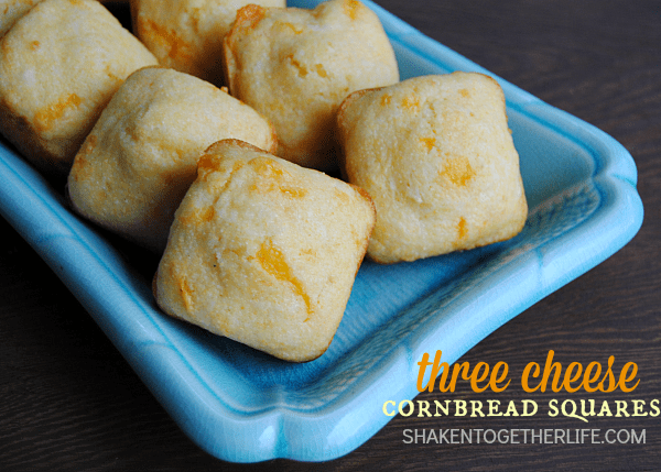 With 3 cheeses baked right in the batter, these easy cheesy Three Cheese Cornbread Squares are a great addition to any meal!